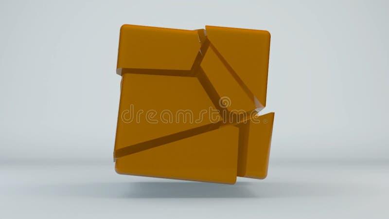 Verplaatsings oranje kubus abstracte achtergrond vector illustratie