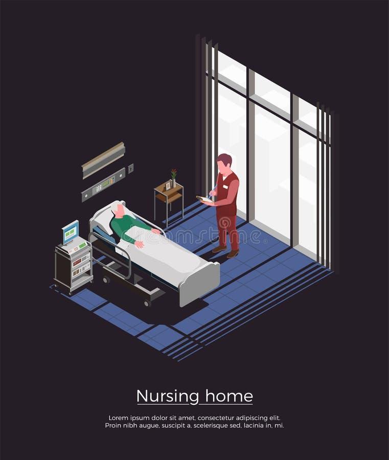 Verpleeghuis Isometrische Achtergrond stock illustratie