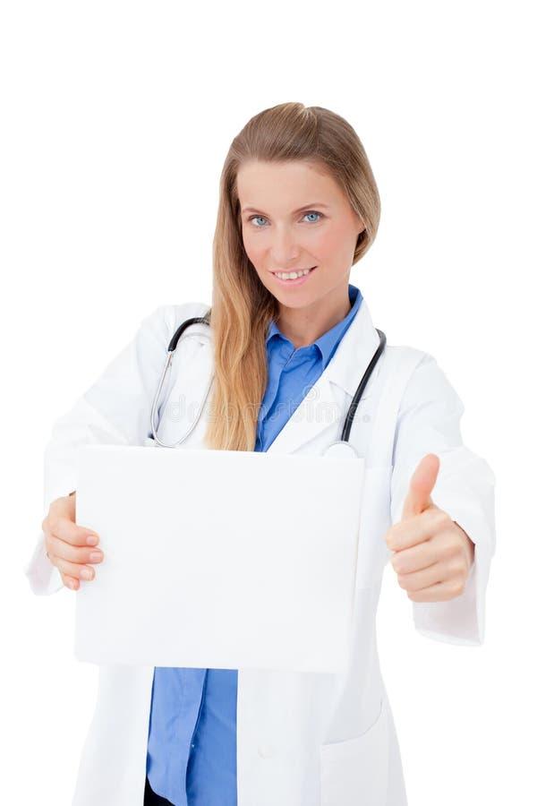 Verpleegster/arts die leeg raadsteken tonen. stock foto's
