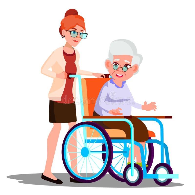 Verpleegster Carrying een Gehandicapte Oude Vrouw in Rolstoel Vector Geïsoleerde beeldverhaalillustratie stock illustratie