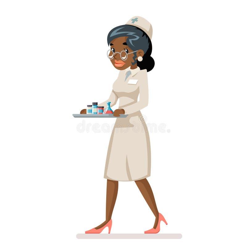 Verpleegster de arts draagt geneeskundedienblad in van het het beeldverhaalkarakter van de handen Afrikaanse vrouw het ontwerp ve stock illustratie