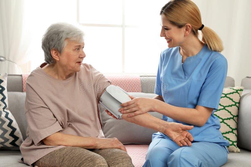 Verpleegster die bloeddruk van bejaarde binnen meten royalty-vrije stock afbeeldingen