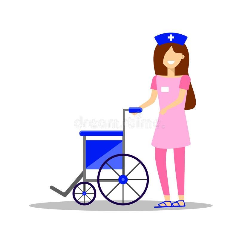 Verpleegster die lege rolstoel duwen ziekenwagen Vector illustratie royalty-vrije illustratie