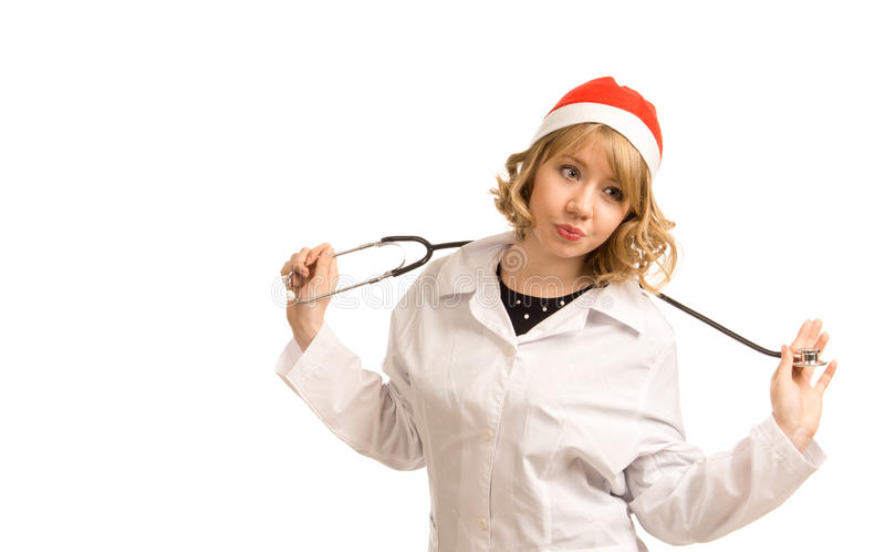 Verpleegster in een Hoed van de Kerstman stock afbeelding