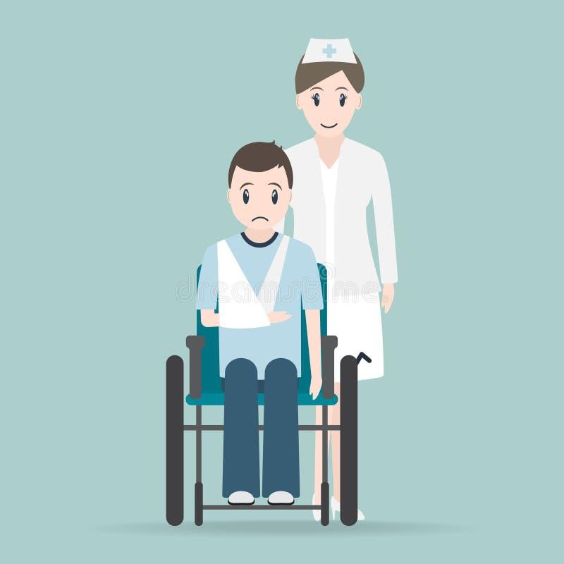 Verpleegster en Verwondingsmens in verband en rolstoelpictogram, medisch tekenpictogram royalty-vrije illustratie