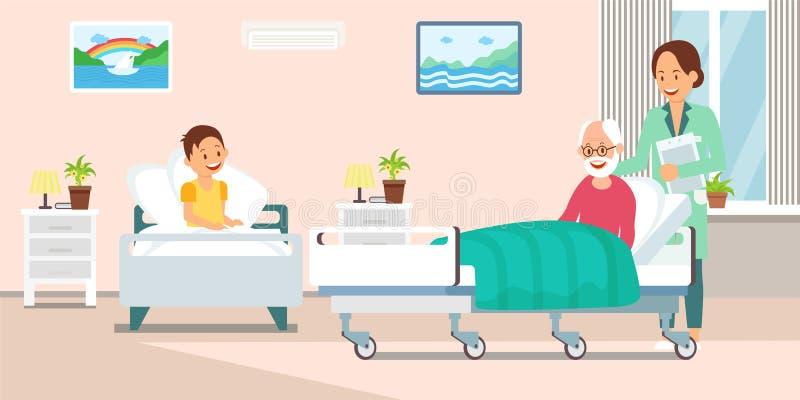 Verpleegster in het Ziekenhuis Ward Flat Vector Illustration royalty-vrije illustratie