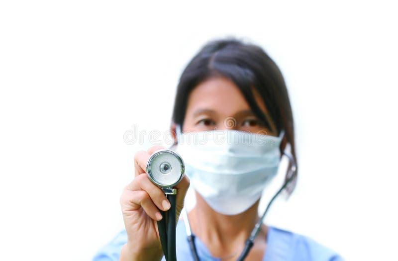 Verpleegster met stethscope royalty-vrije stock foto's