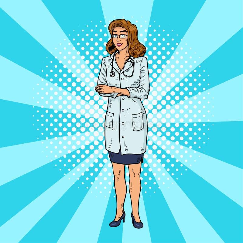 Verpleegster Pop Art Mooie en slimme medische vrouw Grappige artsenthuiszorg Uitstekende retro illustratie stock afbeeldingen