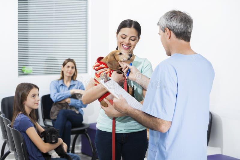 Verpleegster Touching Dachshund Carried door Vrouw op Wachtend Gebied royalty-vrije stock foto