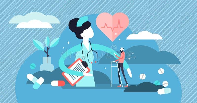 Verpleegster Vector Illustration Vlak uiterst klein medisch de personenconcept van het hulpberoep royalty-vrije illustratie