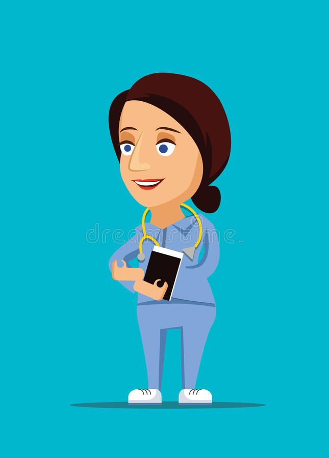 Verpleegster & vriendschappelijke gezondheidszorg artsenillustratie met stethoscooppictogram stock afbeelding