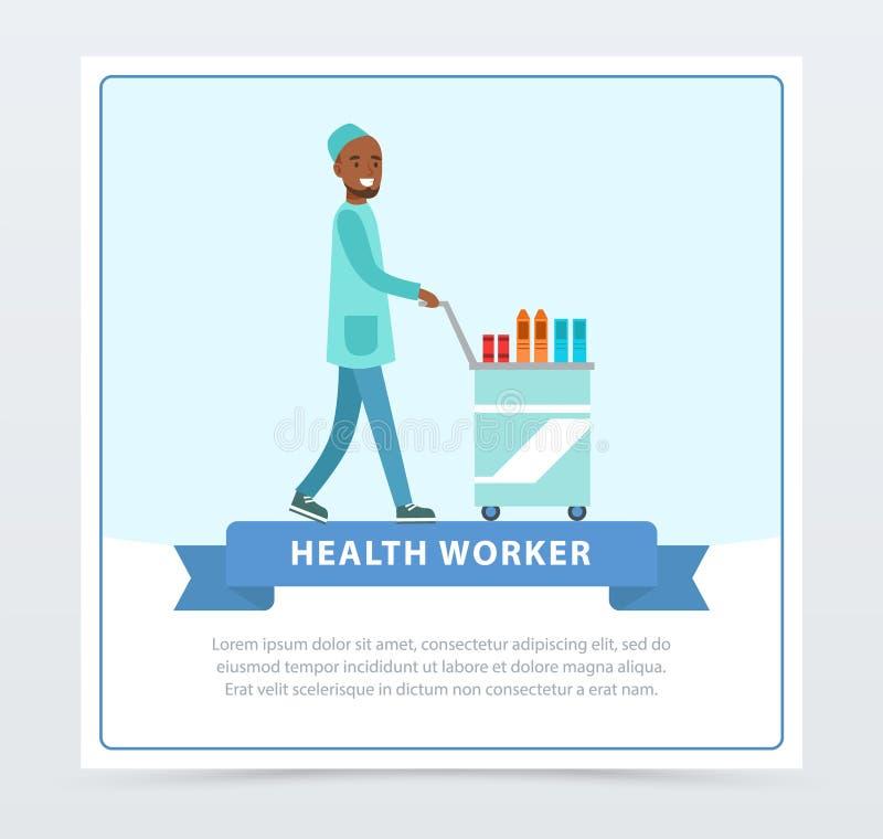 Verpleegsters pushpng medische kar met medische apparatuur, de banner vlak vectorelement van de gezondheidsarbeider voor website  stock illustratie