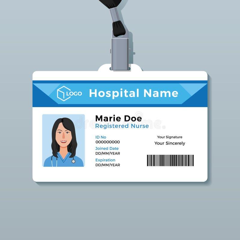 Verpleegstersidentiteitskaart Het medische malplaatje van het identiteitskenteken vector illustratie
