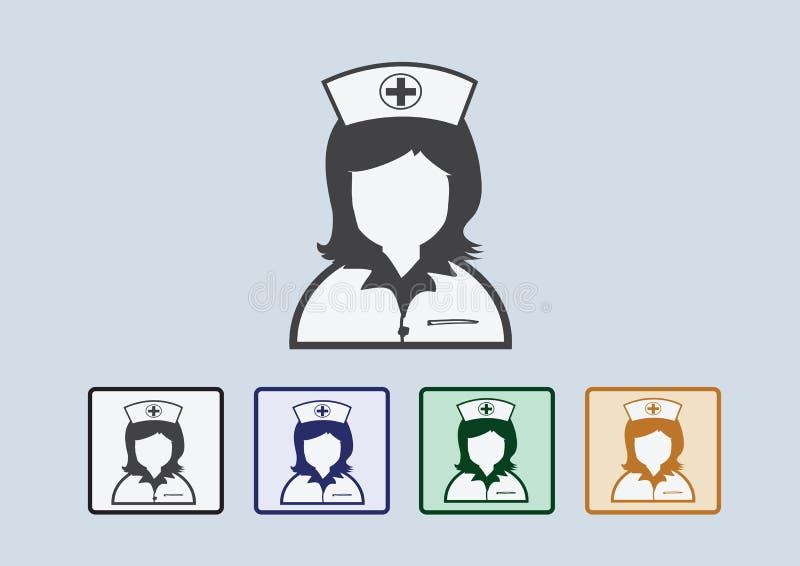 Verpleegsterspictogrammen stock illustratie
