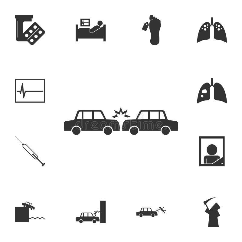 Verpletterd Auto'spictogram Gedetailleerde reeks doodspictogrammen Het grafische ontwerp van de premiekwaliteit Één van de inzame royalty-vrije illustratie