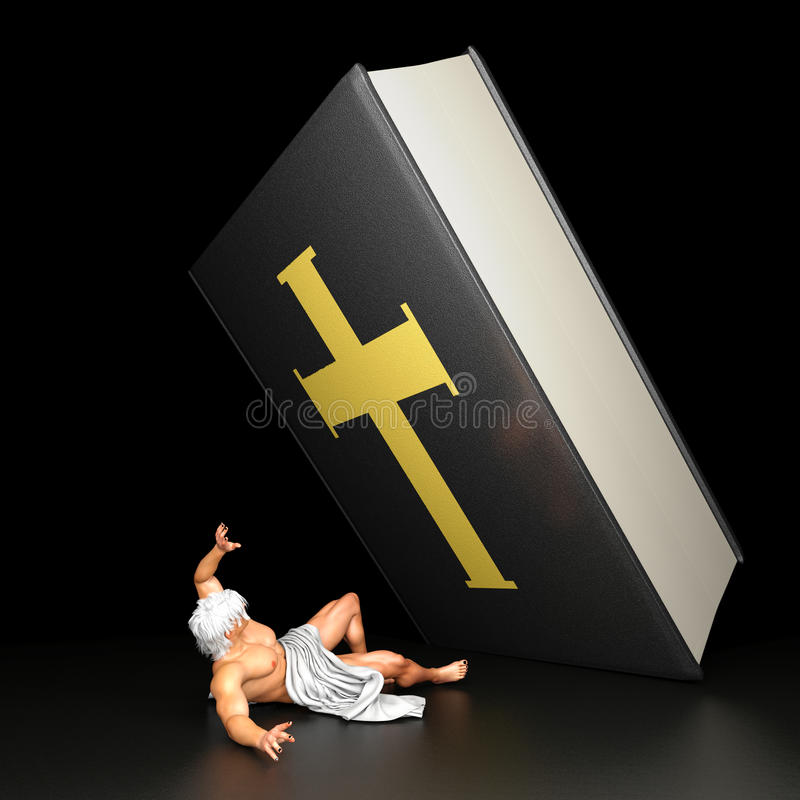 Verpletterd onder bijbel royalty-vrije illustratie
