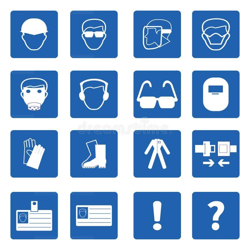 Verplichte tekens, Bouwgezondheid en veiligheid, Vector stock illustratie