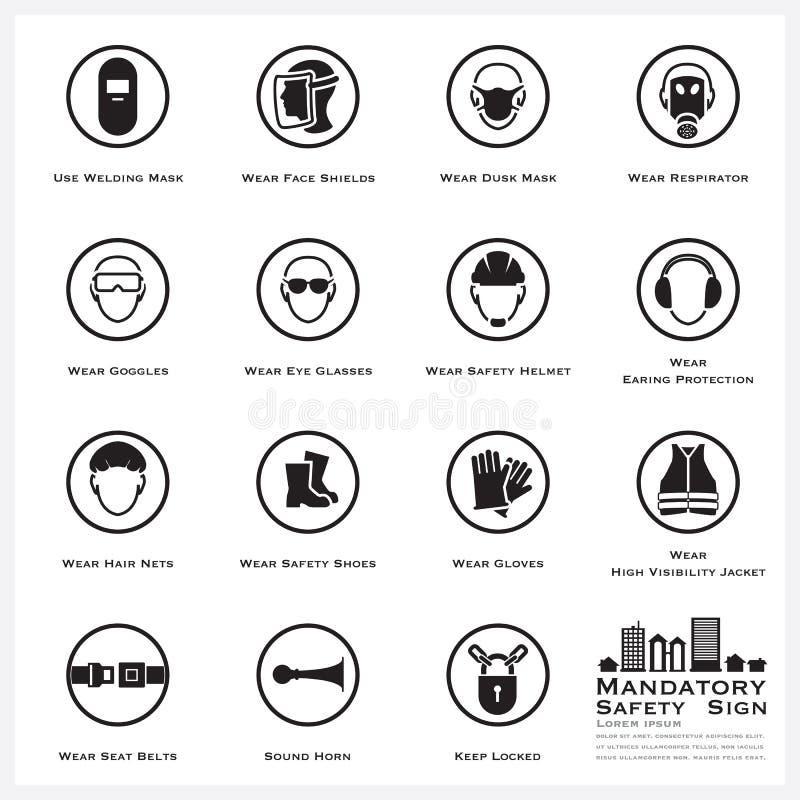 Verplichte Veiligheid en Voorzichtigheids Geplaatste Tekenpictogrammen vector illustratie