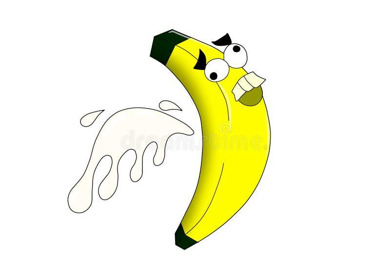 Verrückte Banane mit Milchspritzen lizenzfreie abbildung