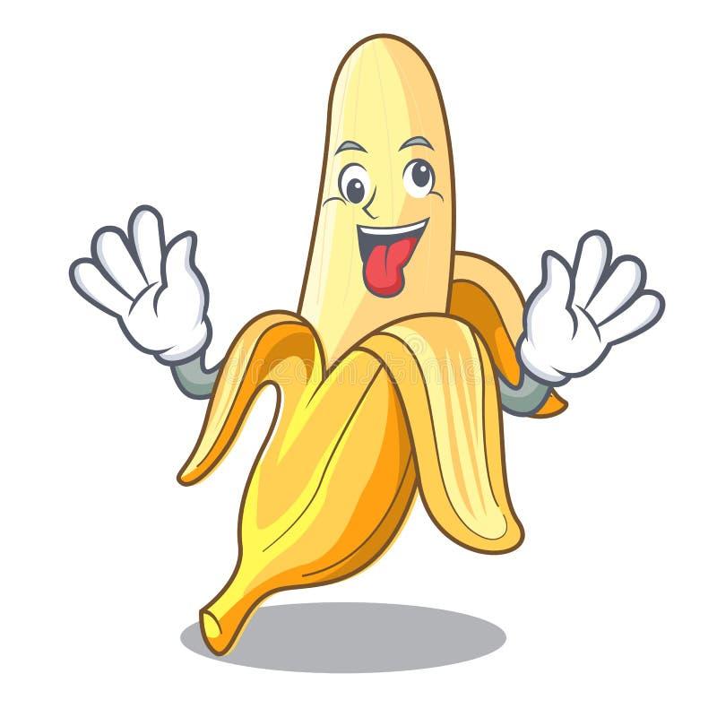 Verrückte geschmackvolle neue Bananenmaskottchen-Karikaturart stock abbildung