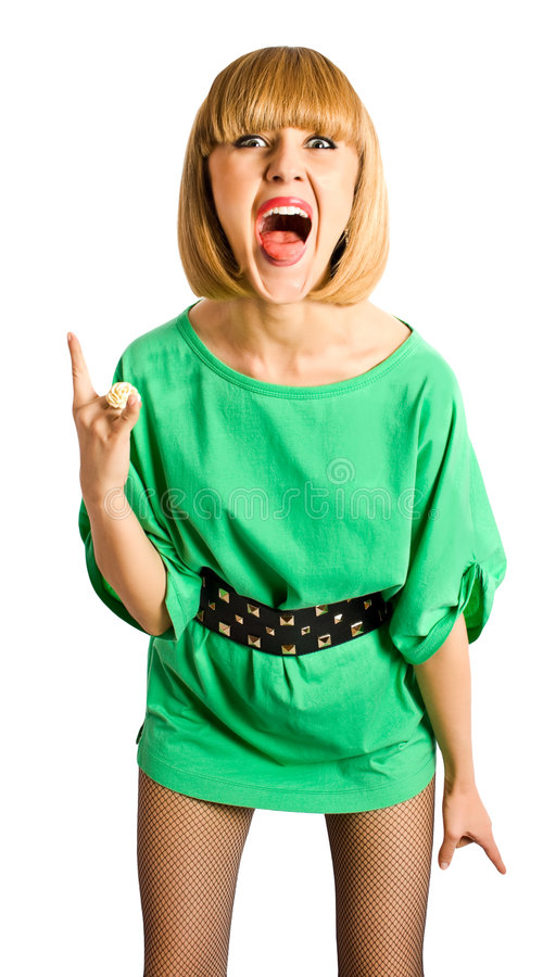 Verrückte junge Frau im kurzen Kleid lizenzfreie stockfotos