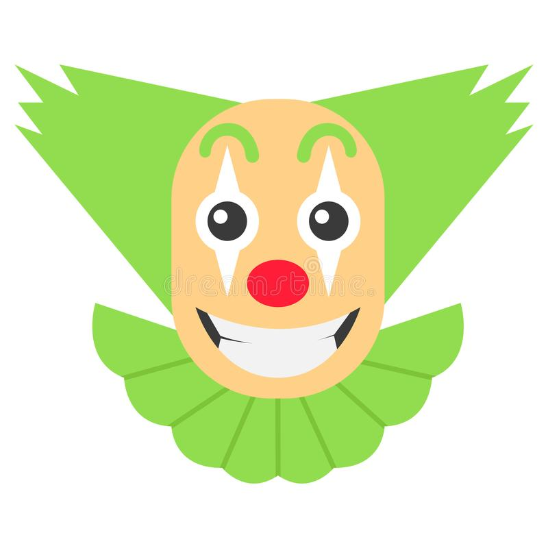 Verrückte Karikatur des Clowns mit dem grünen Haar und großem Lächeln vektor abbildung