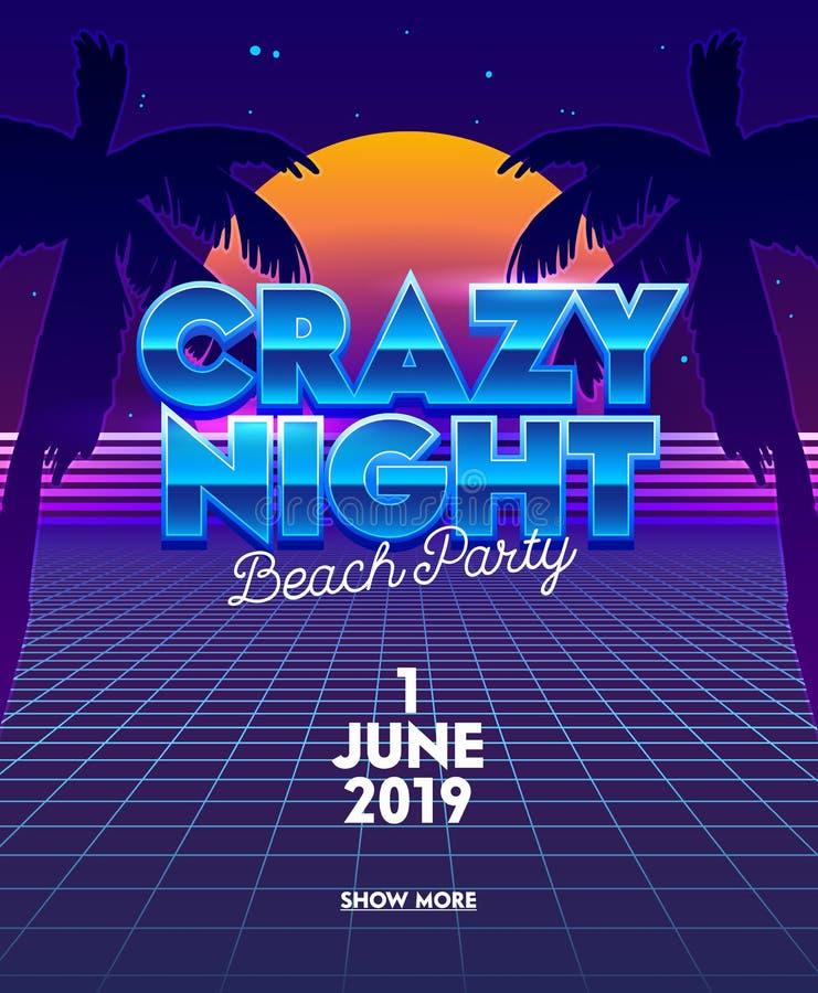 Verrückte Nachtstrandfest-Fahne mit Typografie auf Neongitter-futuristischem Hintergrund Synthwave mit Palmen und Vollmond stock abbildung