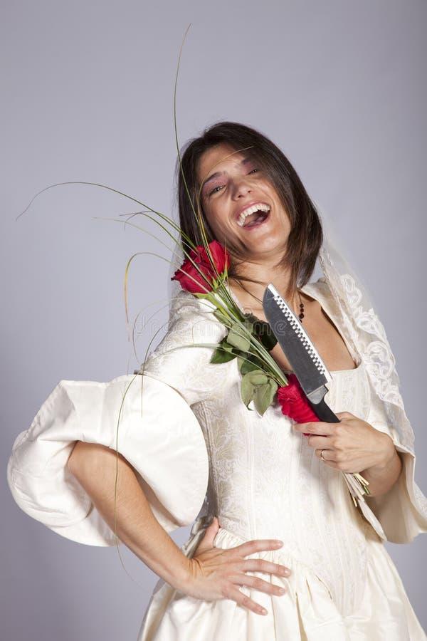 Verrückte schöne Braut stockfoto