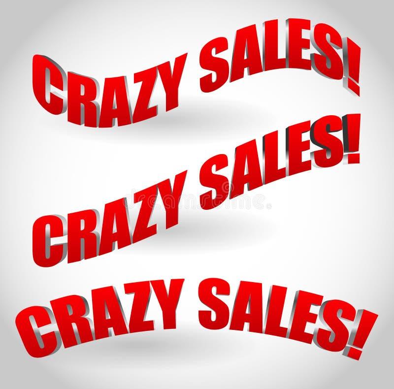 Verrückte Verkaufstextfahnen stock abbildung