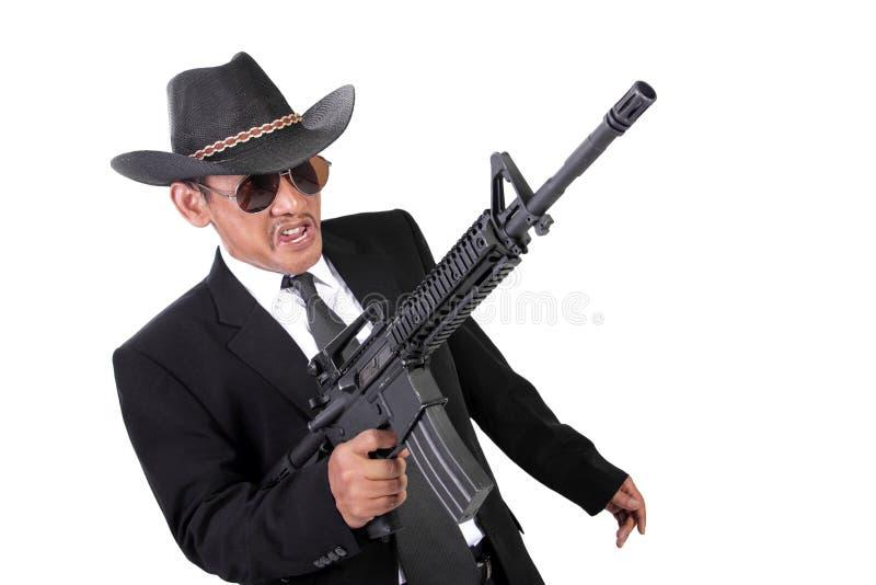 Verrückter Gangster in einem Krieg stockfotografie