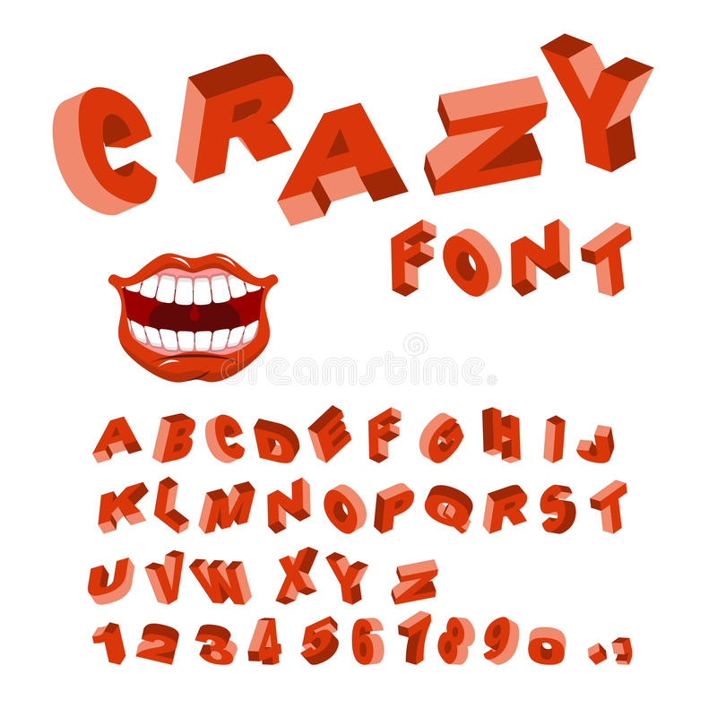 Verrückter Guss Wütendes ABC Verschiedene Buchstaben kurvt Alphabet vektor abbildung