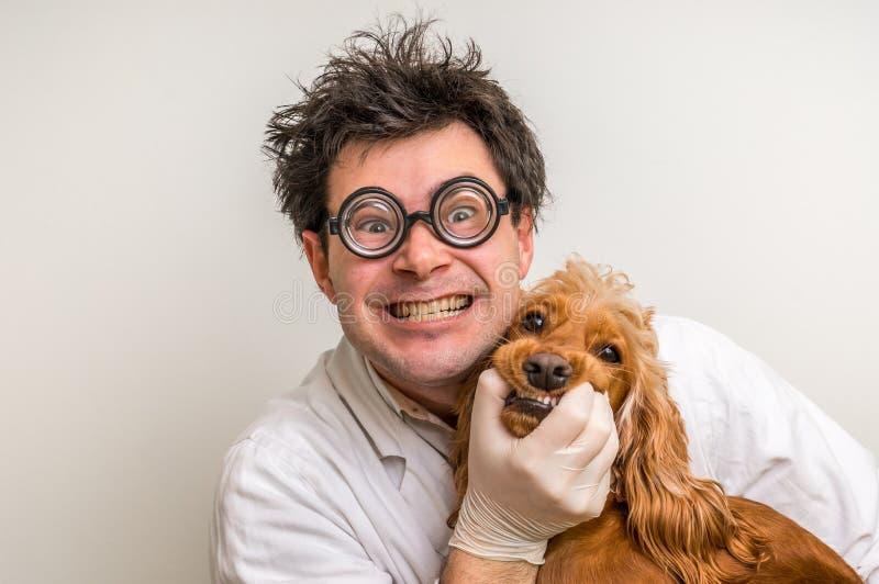 Verrückter Tierarzt und lustiger lächelnder Hund stockfotografie