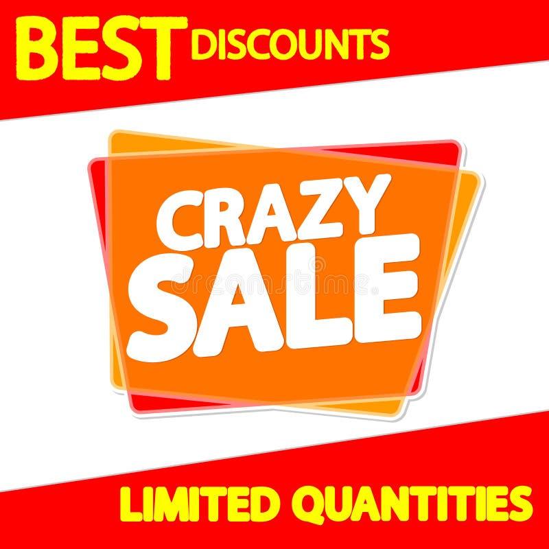 Verrückter Verkaufsumbau, Blasenfahnen-Entwurfsschablone, Appikone, Vektorillustration stock abbildung