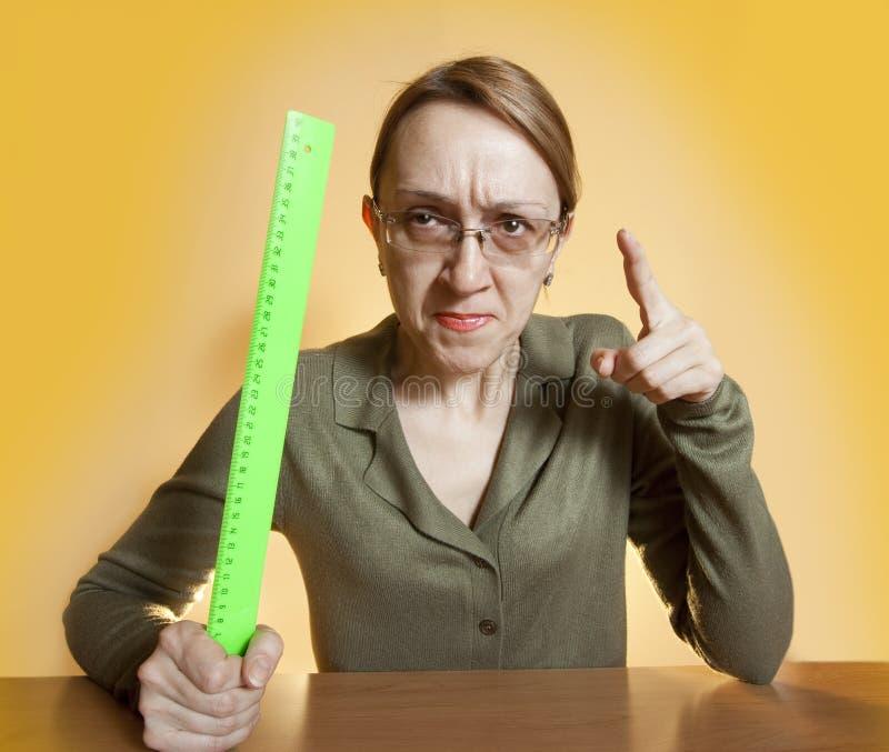 Verrückter weiblicher Lehrer lizenzfreies stockbild