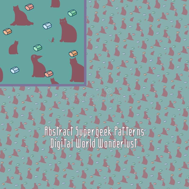 Verrücktes digitales Muster mit merkwürdiger Geometrie lizenzfreie abbildung