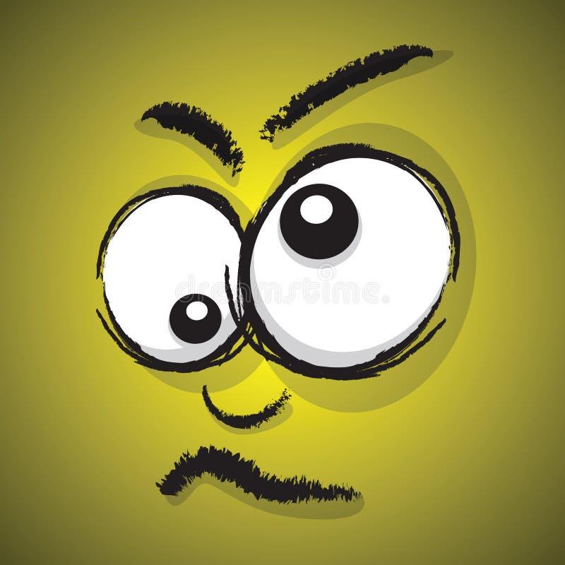 Verrücktes Gesicht der Karikatur stock abbildung