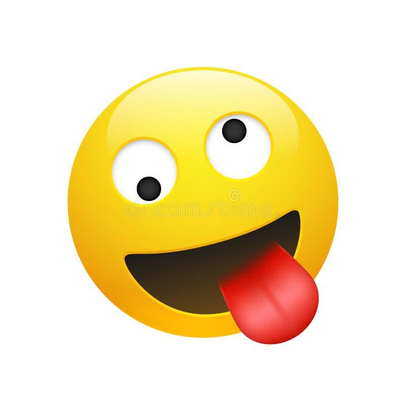 Verrücktes Gesicht des Vektor Emoji-Gelb-smiley lizenzfreie abbildung