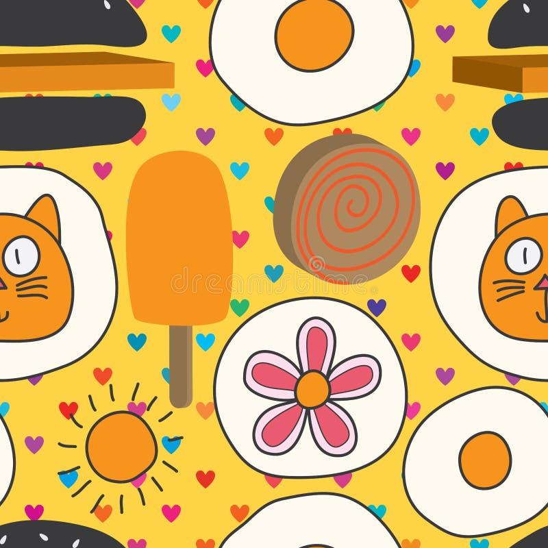 verrücktes nahtloses Muster der 2d der Katze 3d Mischung Nahrungsmittel vektor abbildung