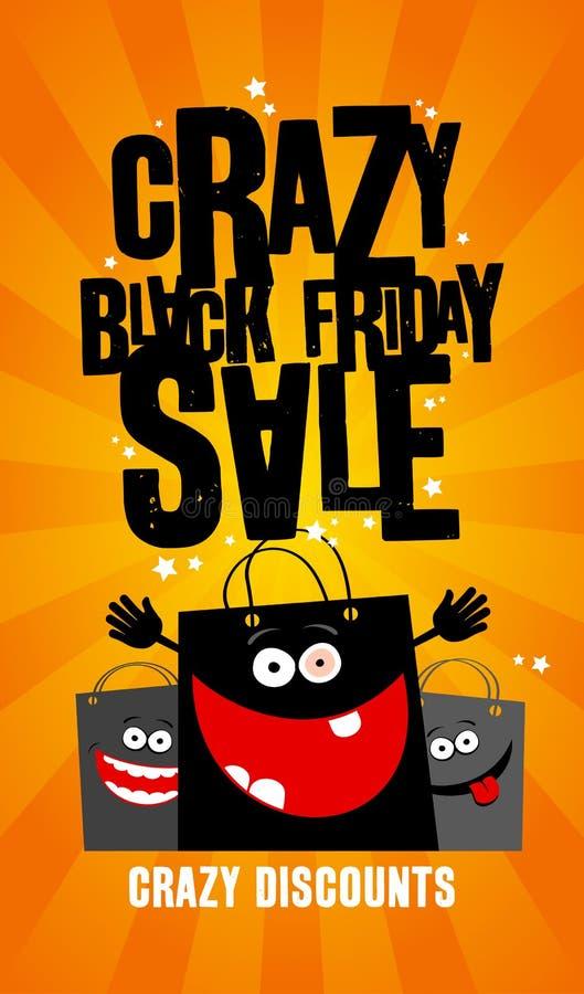 Verrücktes schwarzes Freitag-Verkaufsdesign mit Taschen. lizenzfreie abbildung