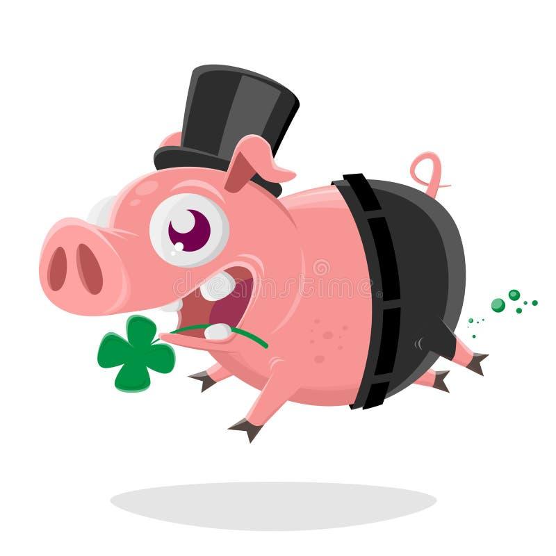 Verrücktes Schwein im Schornsteinfegerkostüm lizenzfreie abbildung