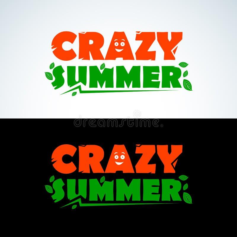 Verrücktes Sommerkleidert-shirt Design Bunte Sommer-Typografie Palmen mit dem Meer und dem hölzernen Brett Alle verschiedenen Gra lizenzfreie abbildung