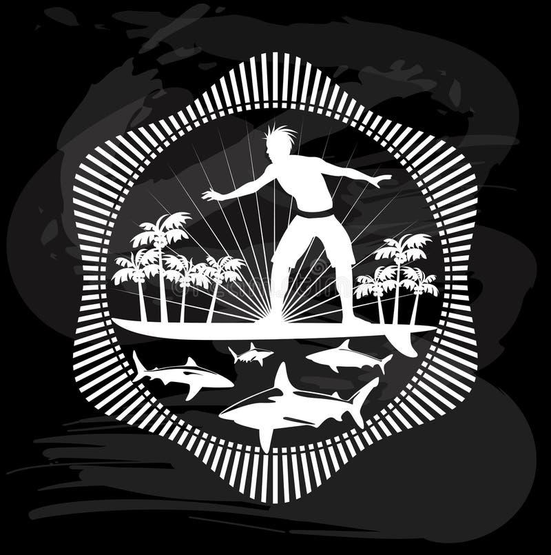 Verrücktes Surfen, tropisches kalligraphisches Design stock abbildung