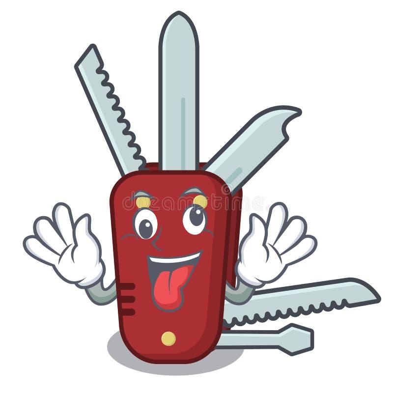 Verrücktes Taschenmesser in der a-Karikaturtasche lizenzfreie abbildung