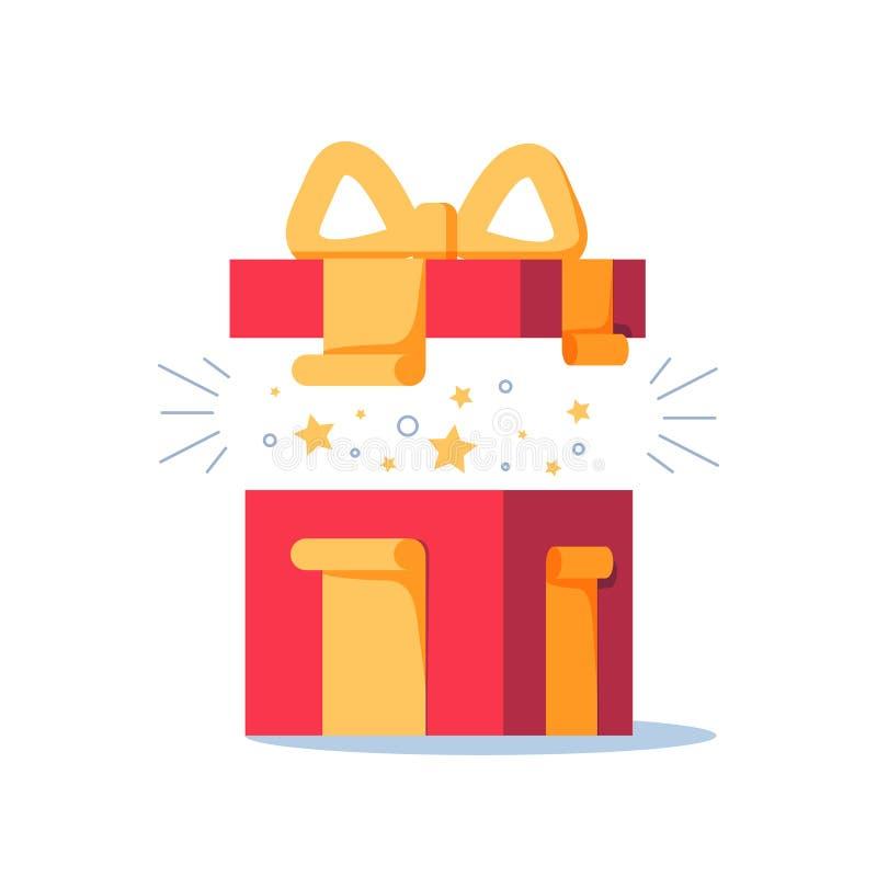 Verrassend gift, opende huidige doos, ongebruikelijke ervaring, speciale viering, verjaardagspartij, vector illustratie