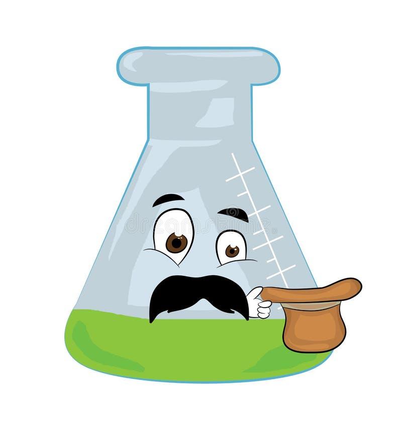 Verrast chemisch flesbeeldverhaal stock illustratie