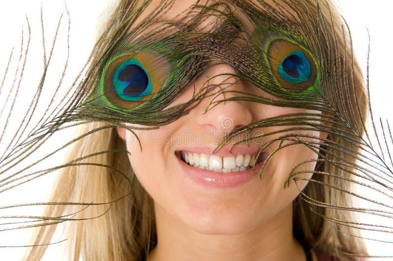 Verrast meisje met mooie glimlach stock afbeelding