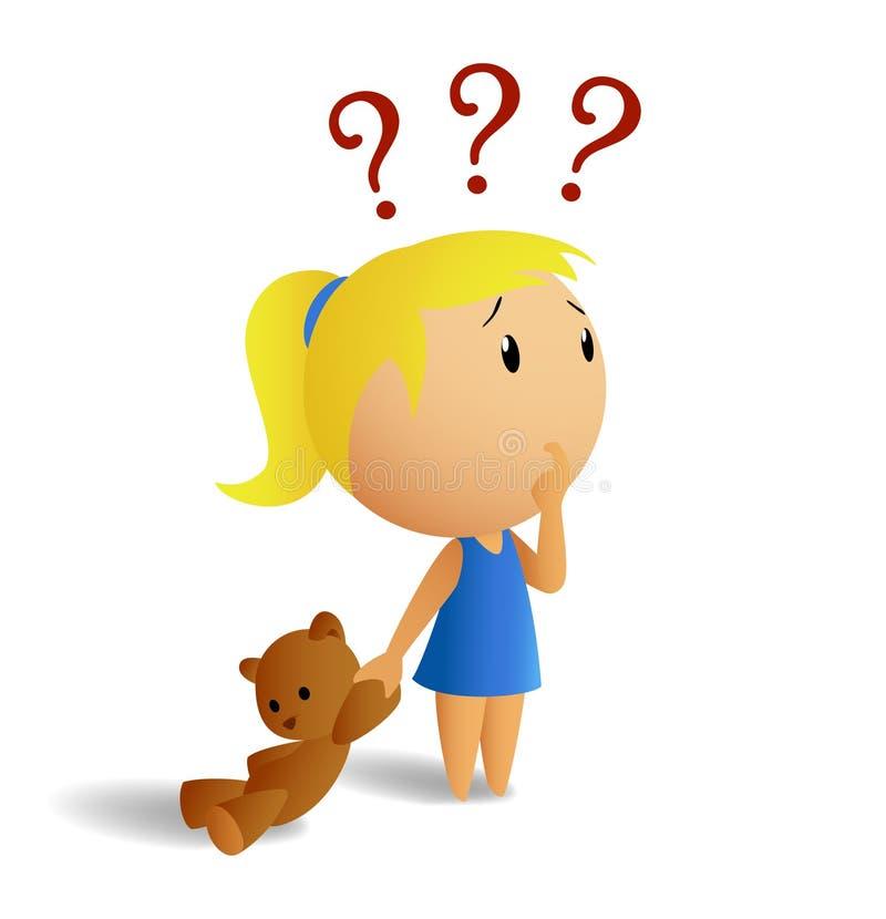 Verrast meisje met teddybeer vector illustratie