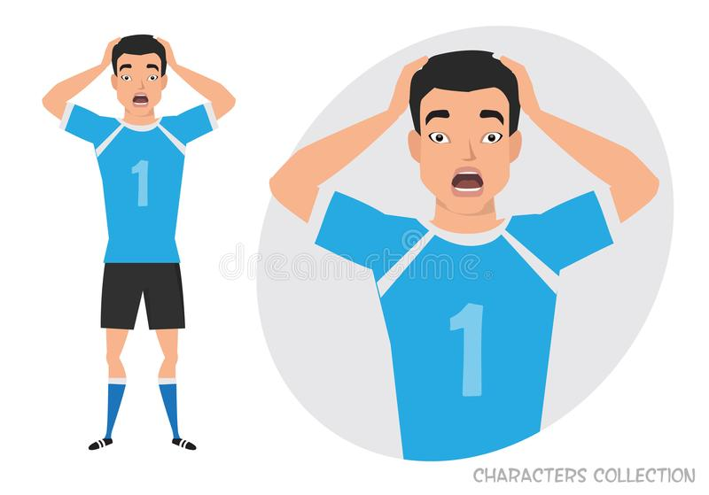 Verraste geschokte Aziatische mens Voetballer met bal royalty-vrije illustratie