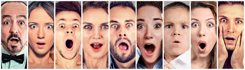 Verraste geschokte mensen Menselijke emotiesreactie royalty-vrije stock fotografie