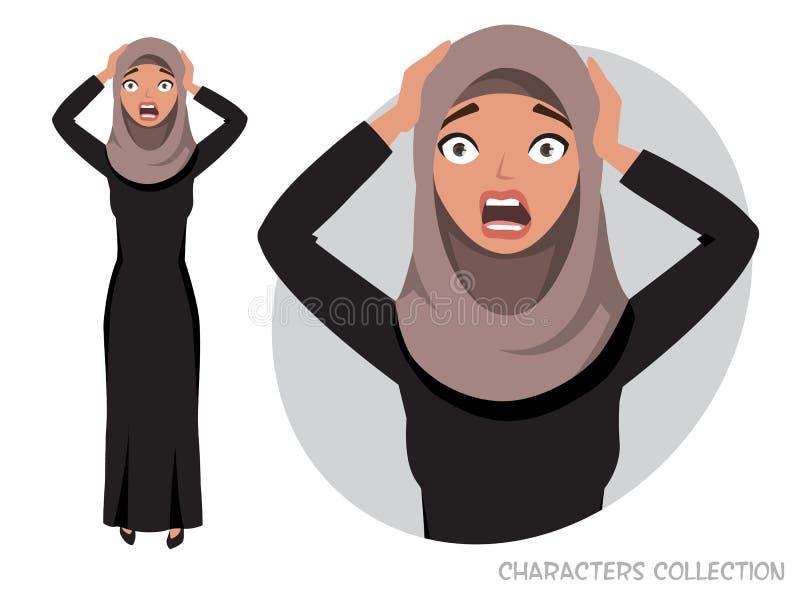 Verraste geschokte oostelijke vrouw stock illustratie